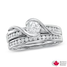 1.00 CT. T.W. Certified Canadian Diamond Bridal Set in 14K White Gold  - Peoples Jewellers