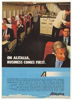 Alitalia Airlines Business Class Inside B747 (1982)