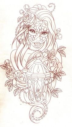 Day of the Dead Pin Up Girl Drawings | Day of the dead lantern by Nevermore-Ink