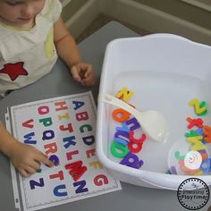 Fun Alphabet Activities for Preschool - Letters Sensory Bin #planningplaytime #sensorybin #letters #preschool #sensoryplay #preschoolworksheets #freeprintables