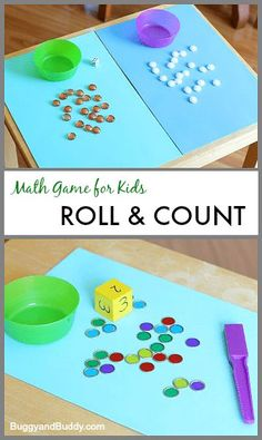 DIY Counting Math Game for Kids: Fun way for preschoolers and kindergarteners to practice counting and one-to-one correspondence Preschool Math Games, Math Games For Kids, Numbers Preschool, Homeschool Math, Kindergarten Math, Teaching Math, Math Activities, Kids Fun, Kids Math