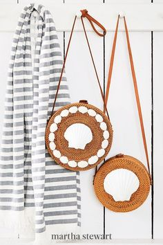 Striking white scallop and ark shells, hot-glued into place, give affordable rattan styles resort-boutique cred. #marthastewart #crafts #diyideas #easycrafts #tutorials #hobby