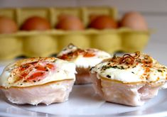 #paleo Egg Mc-Nothings (Canadian bacon in muffin tin, filled with one egg, and bake. Simple)