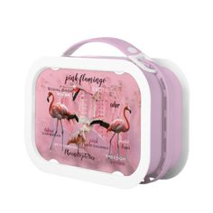 Pink Flamingo Typography   Customized Lunch Box