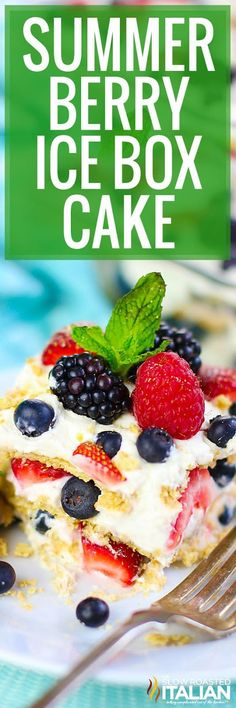 Summer Berry Icebox Cake is surely a crowd-pleaser. It is an easy summer dessert recipe that is so simple, but looks like you spent hours making it! #theslowroasteditalian #tsri #nobake #cake #iceboxcake #icebox #simpledesserts #dessert #summer #recipe