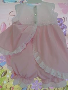 Pink Gingham and Eyelet Baby Dress and Bloomers