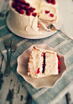 Raspberry & Cream Filled Angel Food Cake