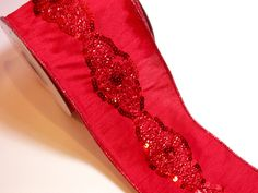 Red Ribbon, Lion Brand Red Elena Sequin Wired Fabric Ribbon 4 inches wide x 10 yards, Full Bolt by GriffithGardens on Etsy