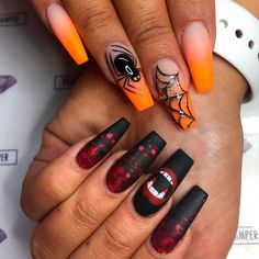 The Best Halloween Nail Designs in 2018 Amazing Halloween Ombre Orange Spiderweb & Bloody Black Nails Holloween Nails, Halloween Acrylic Nails, Halloween Nail Designs, Cute Acrylic Nails, Cute Nails, Pretty Nails, My Nails, Halloween Halloween, Halloween Coffin