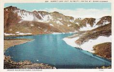 MT. EVANS SUMMIT LAKE COLORADO - VINTAGE LINEN POSTCARD