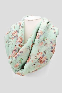 Shabby Chic Infinity Scarf in Mint on Emma Stine Limited
