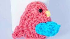 Little bird applique free crochet pattern