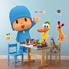 """Decorate with your favorite characters with these Pocoyo Giant Wall Decals! The package includes 6 vinyl wall decals. The largest decal measures 47"""""""" x 22"""""""". The decals are easy to apply and remove on"""