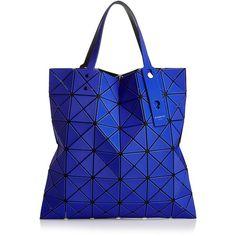 Bao Bao Issey Miyake Lucent Frost Medium Tote ($495) ❤ liked on Polyvore featuring bags, handbags, tote bags, medium tote bag, blue tote, purse tote bag, blue hand bag and man bag