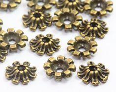 8mm Antique Bronze Bead Caps, Tibetan Bead Caps, Flower Bead Caps
