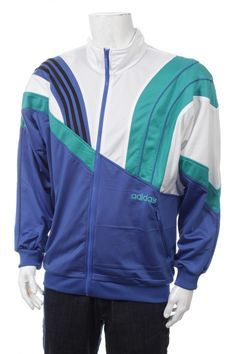 6f637f4432d0 Vintage 90s Adidas TrackSuit Top Color Block White Green Blue Size M L D6
