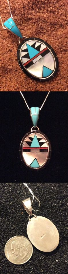 Southwestern 164301: Sterling Silver Inlay Pendant Turquoise Mother Pearl Red Coral Native American -> BUY IT NOW ONLY: $59 on eBay!