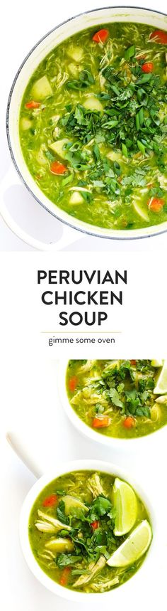 """This delicious Peruvian Chicken Soup (a.k.a. """"Aguadito De Pollo"""") is full of chicken, rice, potatoes, and veggies. And it's made with the most DELICIOUS cilantro broth. So flavorful, and so easy!   http://gimmesomeoven.com"""