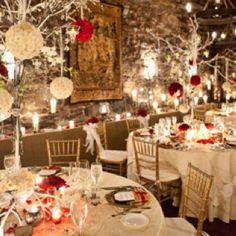 Red, white, and crystal themed wedding
