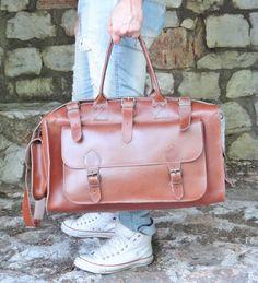 Apollo Travel Bag / Twininas Genuine Greek Leather Bag by Twininas Apollo Travel, Leather Sandals, Leather Bag, New Bag, Handmade Jewellery, Ss 15, Duffel Bag, Travel Bag, Gifts For Dad