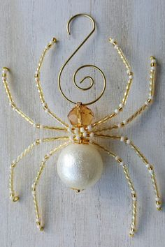 Champagne, Pearl and Gold Beaded Spider Ornament
