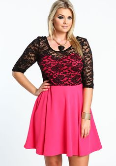 Plus Size 3/4 Sleeve Lace Skater Dress