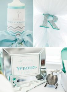 baby boy's christening party decor