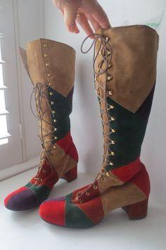 Vintage MOD SQUAD 1970's Florsheim Hippie PATCHWORK Suede Leather Granny  Boots ...