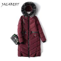 2017 winter women's cotton hooded Fur collar jacket Female fashion down jacket cotton Slim in the long coat