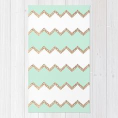 AVALON SEAGREEN Area & Throw Rug by Monika Strigel | Society6 $29.00  #seafoam #aqua #mint #green #chevron #gold #glitter #white #rug #arearug #home #decor #apartment #new #monikastrigel #cute