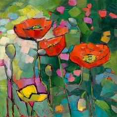 Just Landscape Animal Floral Garden Still Life Paintings by Louisiana Artist Karen Mathison Schmidt: Poppies Galore abstract red yellow poppies floral modern art bright lively garden poppy oil painting
