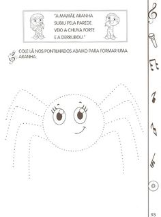 ALFABETIZAÇÃO CEFAPRO DE PONTES E LACERDA : Trabalhando com música - Dona Aranha Fun Worksheets For Kids, Tracing Worksheets, Preschool Worksheets, Preschool Writing, Preschool Learning Activities, Free Preschool, Mom Coloring Pages, Activities For 2 Year Olds, Educational Games For Kids