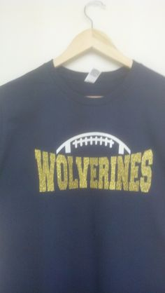 Midway Wolverines.  This shirt combines screen printing with heat transfer glitter vinyl.