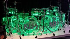 Pearl's Crystal Beat drum set @ NAMM2015. Eric Singer's kit. I admit I had to look up who drums for KISS now.