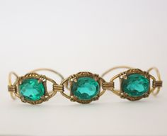 Vintage Antique Emerald Art Deco Bracelet Costume Jewelry - pinned by pin4etsy.com