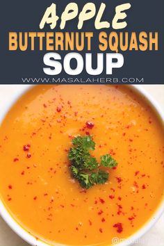 Roasted Butternut Squash Soup with Apple Recipe - Easy fall soup recipe with complex flavors. Healthy and delicious. www.MasalaHerb.com #butternutsquash #soup #masalaherb