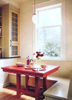 Spice up your table or chairs with a new hue. Embrace the season by painting your table a vibrant, warm color like red or golden yellow. If you are nervous about making a big commitment, try painting just the table legs, or a single bench or chair, and see how the color feels.