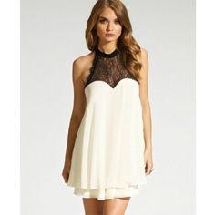 White Chiffon Lace Splicing Bow Evening Dress