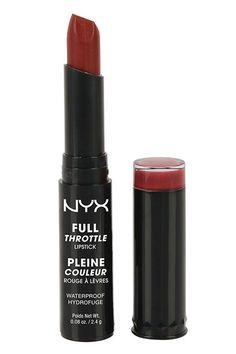 """28 New Drugstore Products We're Totally Obsessed With #refinery29  http:∕∕www.refinery29.com∕new-drugstore-makeup-products#slide-20  Another category in which Nyx kills it: lipsticks. This new addition to the brand's lip lineup gives a smooth punch of matte color, without the annoying dryness that often accompanies this type of formula.Nyx Full Throttle Lipstick in Con Artist, $6.99, available at <a href=""""http:∕∕www.ulta.com∕ulta∕browse∕..."""
