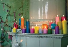 Colorful candles would be perfect in a white bathroom around a tub!!
