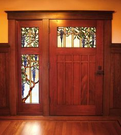 31 Popular Mission Style Door Design Ideas For Your Home - Mostly located in the Southwest or Florida, Mission homes are based on the architecture of early Hispanic settlers of California, and so look a lot li. Craftsman Door, Craftsman Interior, Craftsman Style Homes, Craftsman Bungalows, Craftsman Kitchen, Glass Design, Door Design, House Design, Detail Architecture