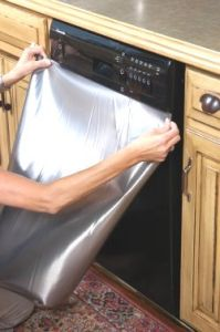 Faux Steel Film: Instant Stainless Steel Film for Appliances, Peel and Stick Faux Stainless Steel Sheets - Installation 2