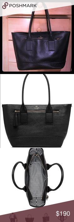 Kate spade southport harmony tote Kate spade. Black pebbled leather. In great condition. Has zipper outer pocket. Tote itself can zip so things don't fall out. 1 zipper compartment inside. 2 additional inside pockets for phone/sunglasses/misc items. kate spade Bags Totes