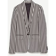 STRIPED TWO - TONE JACKET-BLAZERS-WOMAN-COLLECTION AW/17 | ZARA... (110 CHF) ❤ liked on Polyvore featuring outerwear, jackets, striped jacket, white blazer, blazer jacket, striped blazer and stripe jacket