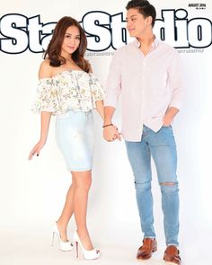This is the pretty Kathryn Bernardo and the handsome Daniel Padilla smiling for the camera while posing for a photo shoot for StarStudio Magazine for its August 2016 issue. Daniel was wearing a pink dress shirt, light denim blue wash ripped skinny jeans, and brown leather shoes; while Kathryn was wearing a white floral blouse, light denim blue wash denim skirt, and white high-heeled peep-toe platform pumps, which are the Christian Louboutin Lady Peep in white leather. Indeed, they're the…