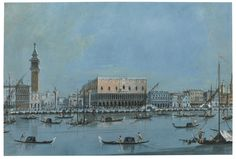 Giacomo Guardi, The Molo from the Bacino di San Marco with Palazzo Ducale