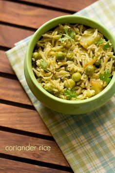 coriander rice recipe - aromatic and spiced rice made with fresh coriander, spices and veggies.  #coriander #rice