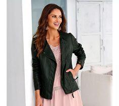 Bunda v koženém vzhledu | vyprodej-slevy.cz #vyprodejslevy #vyprodejslecycz #vyprodejslevy_cz #moda #damskamoda #xxlmoda #xxl Leather Jacket, Blazer, Zip, Jackets, Women, Fashion, Studded Leather Jacket, Down Jackets, Moda