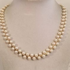 Vintage Signed Avon F Pearl Gold Tone Necklace Fashion Costume Jewelry 18.5 inch #Avon