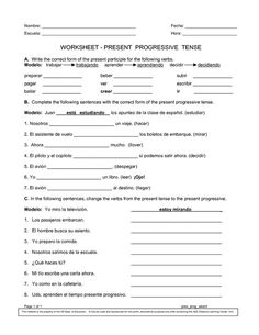 Spanish Worksheets Printables   Present Progressive Worksheet: